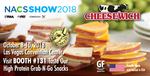 Cheesewich NACS EXPO anouncement to visit Booth #131 to taste their high-protein grab-n-go snacks.