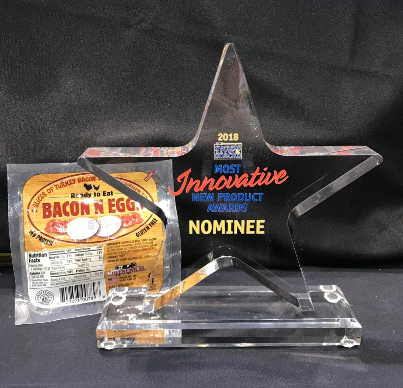 Most Innovative New Product Nominee Award from the Sweet & Snack Show for our BACON N EGGS