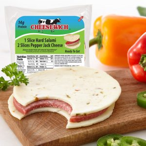 Cheesewich™ Original salami & Pepper Jack Cheese made with award winning Wisconsin Cheese. 14 grams of protein ready to eat grab-n-go snack. Spicey south of the boarder flavor.