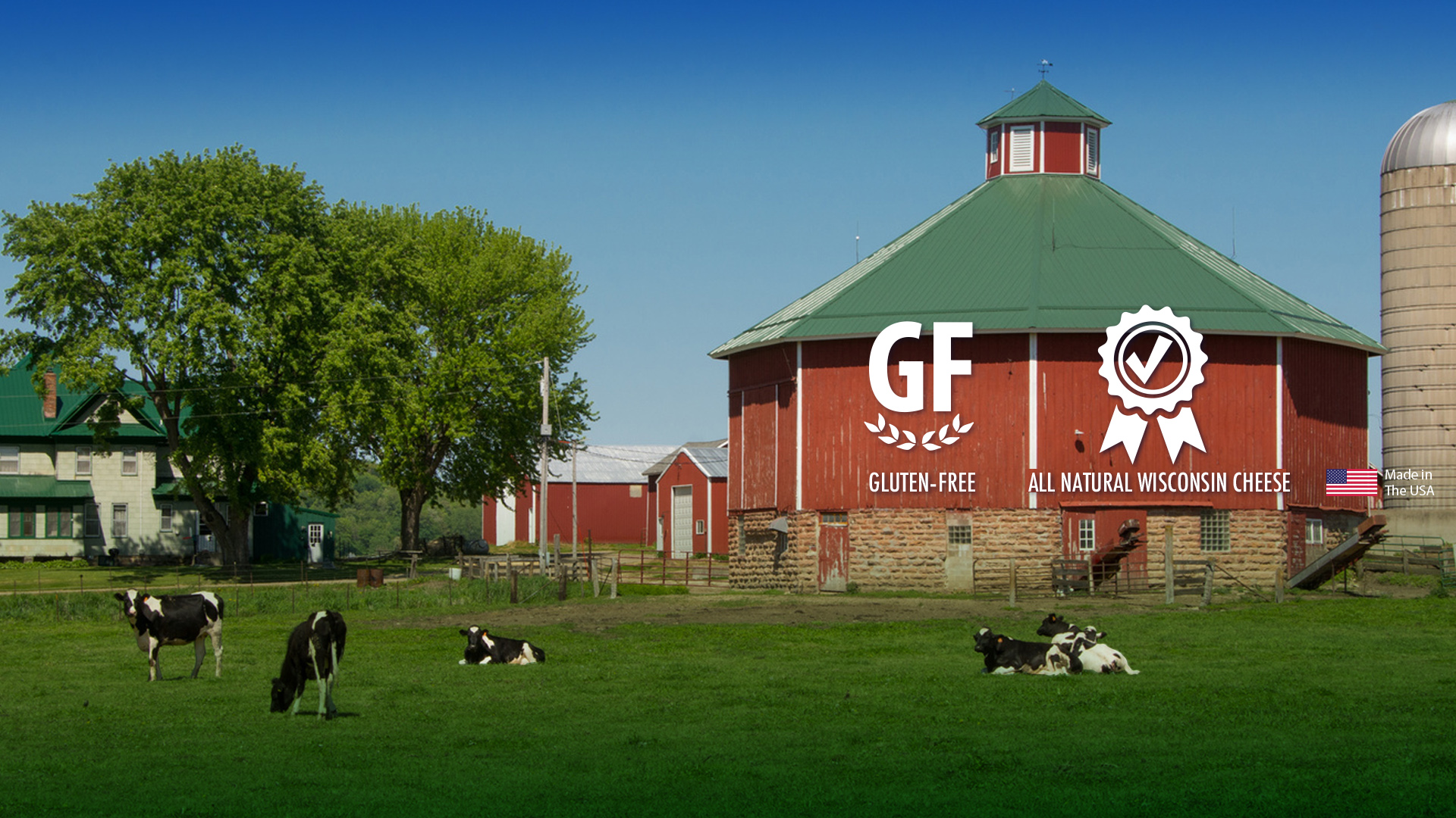 Image of Wisconsin Dairy Farm, Gluten Free, Quality Ribbon and USA Flag