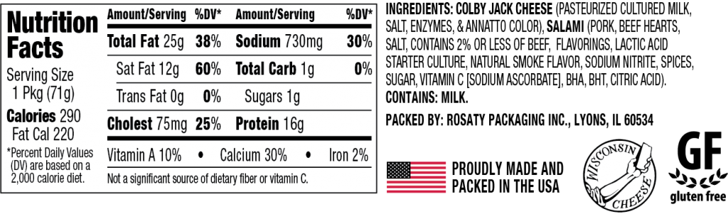 Nutrition Information for Colby Jack Cheesewich