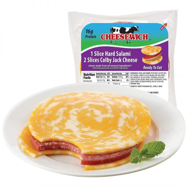 Colby Jack Cheesewich on plate with bite taken out showing salami with Product package behind plate