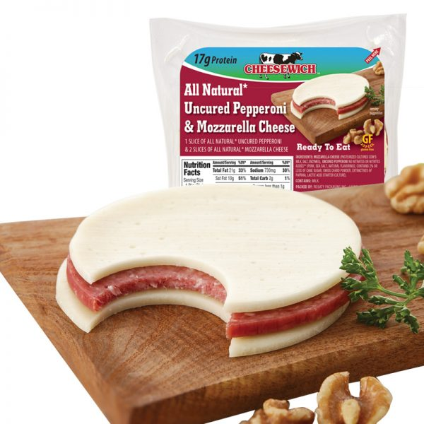 Cheesewich™ introduces all natural uncured pepperoni & mozzarella Cheese made with award winning Wisconsin Cheese. 17 grams of protein ready to eat grab-n-go snack.