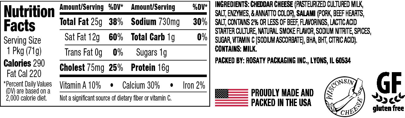 Nutrition and Ingredient information for Cheedar Cheesewich™ original flavor