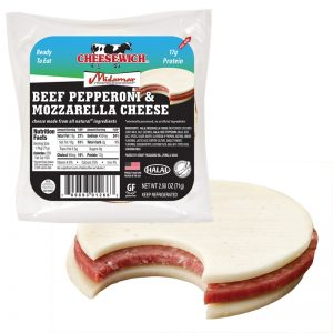 Halal Mozzarella Cheesewich™ and Beef Pepperoni package.