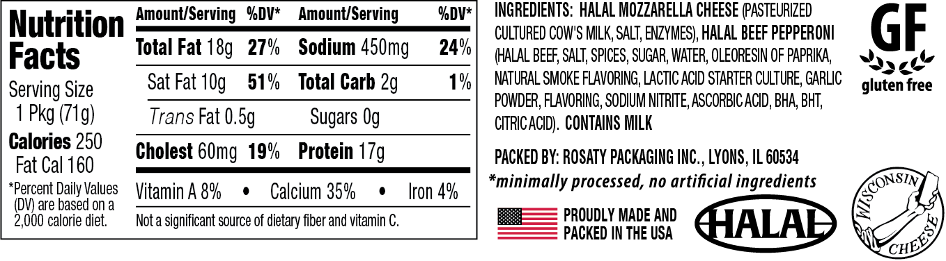 Nutritional Information for Halal Mozzarella and beef pepperoni