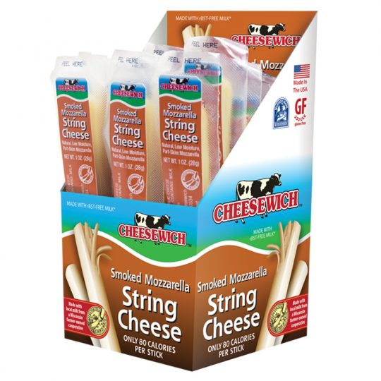 Cheesewich Factory brings 1oz smoked mozzarella string cheese to the grab-n-go market. Each carton packed with 24oz's of deliciousness. Made with Wisconsin's no growth hormone dairy farms.