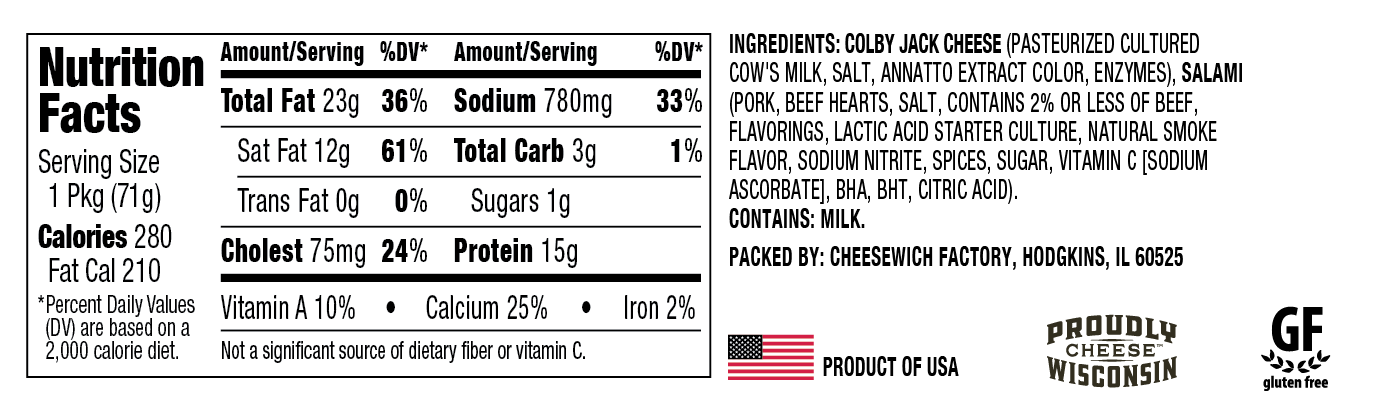 Nutrition information for Colby Jack Cheesewich™