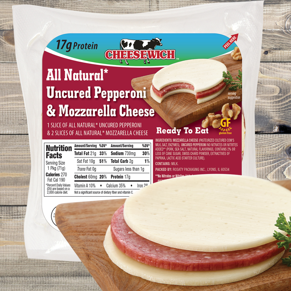 image of mozzarella and pepperoni all natural product out of package on cutting board and an image of package for retail.