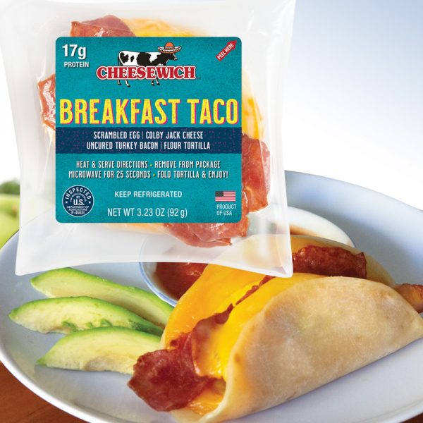 Cheesewich breakfast taco package with image of heated ready to eat taco.