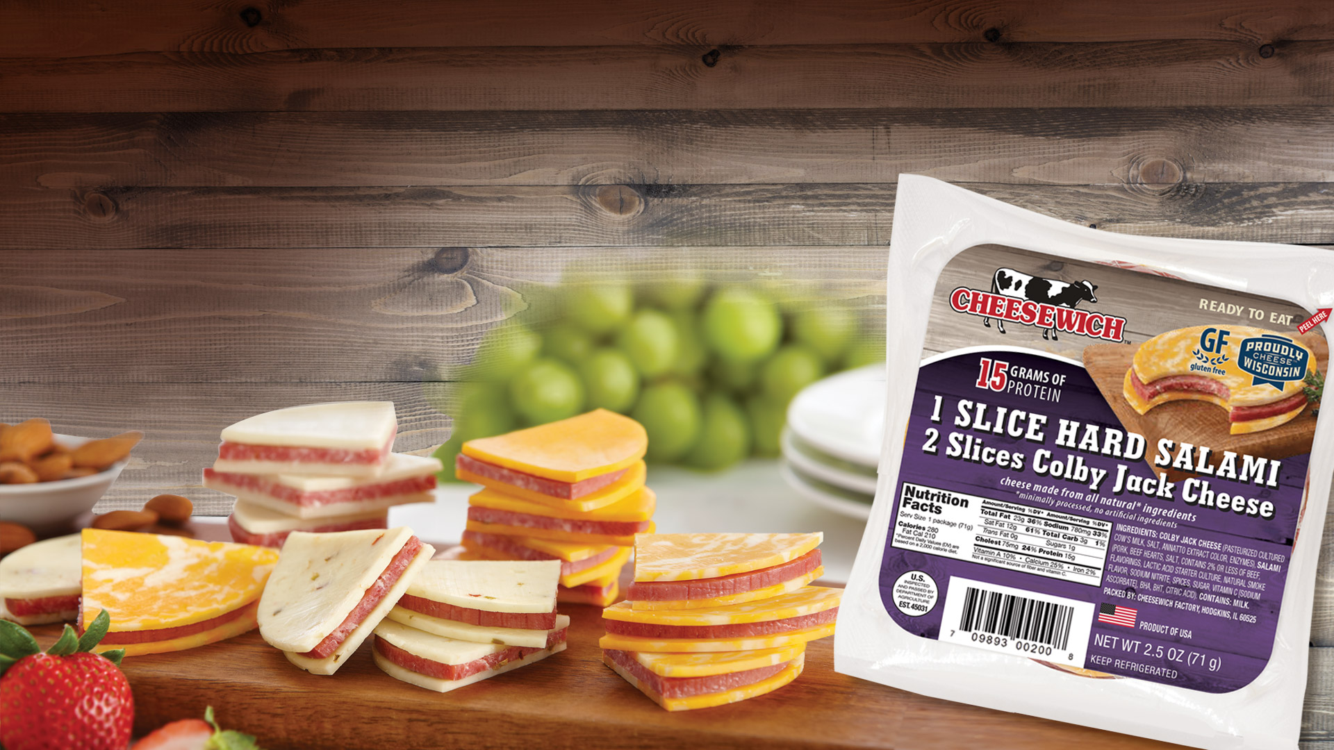 glamour image of product outside of package, slice of cheese and salami no bread sandwiches and 1 package of Colby Jack Cheesewich flavor