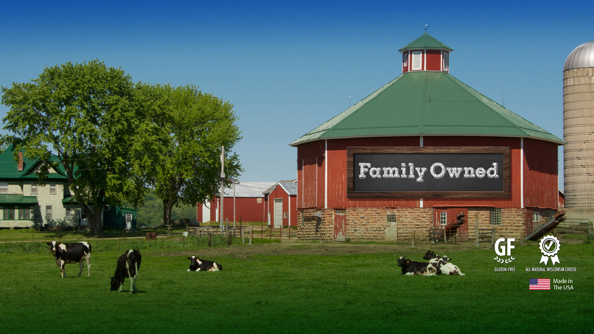Image of Wisconsin Dairy Farm, Gluten Free, Quality Ribbon and USA Flag, Sign with Family Owned