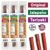 All 3 flavors of beef stick in packages. Original, Teriyaki, and Jalepeno flavors. Jalal certified, made in USA