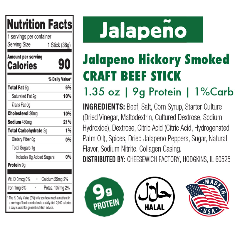 Nutrition and Ingredients for Jalapeno Beef Sticks