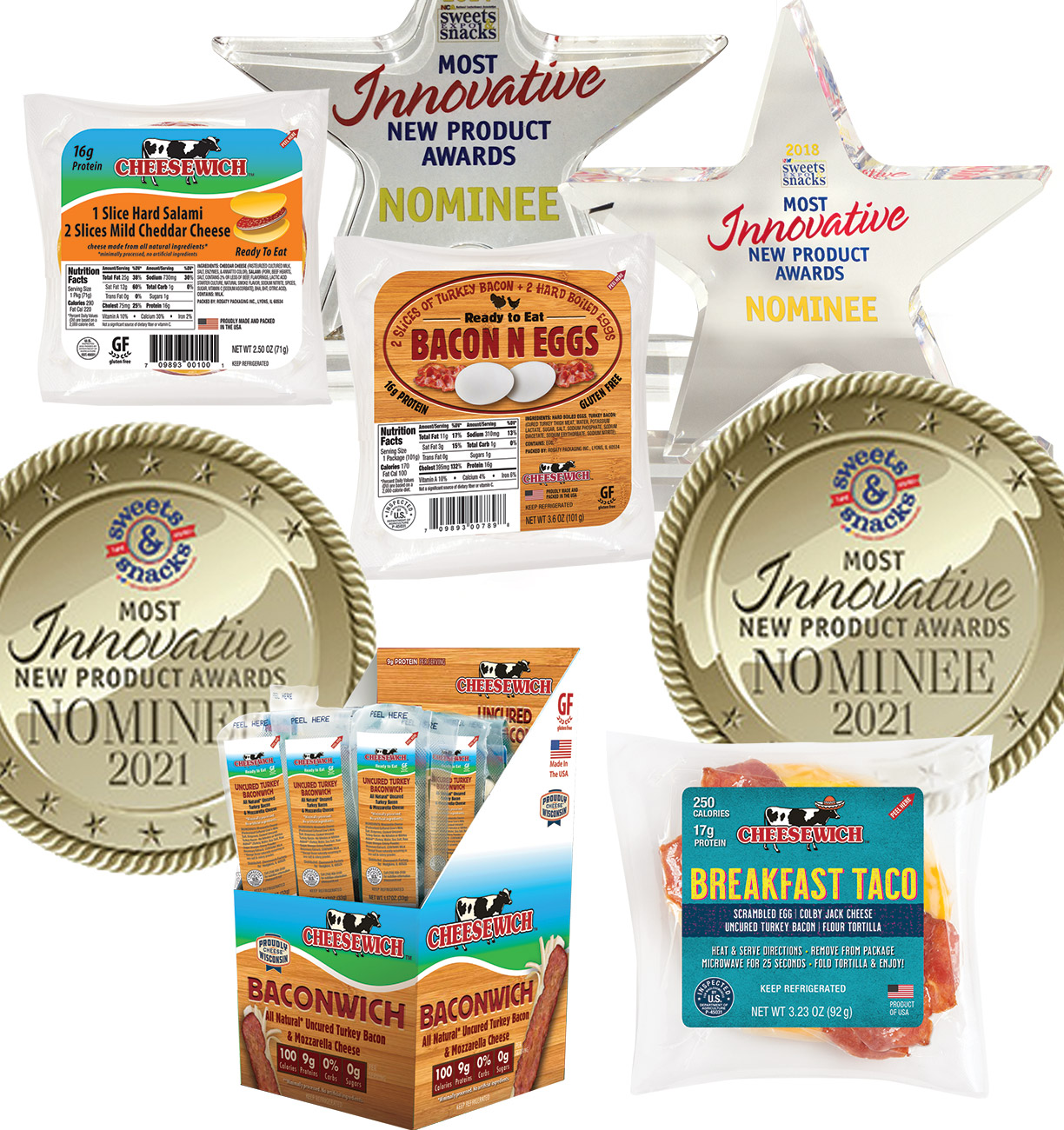 4 awards from Sweets & Snacks Expo, newest for Breakfast Taco and Baconwich 2021
